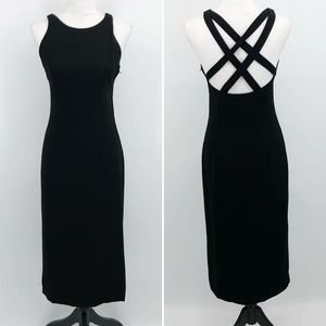 Dave & Johnny Womens Vtg Midi Dress Sheath Black 5